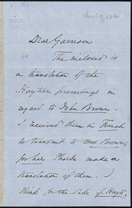 Letter from Wendell Phillips, to William Lloyd Garrison, M[arc]h 19 [1860]