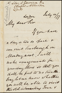 Letter from Harcourt Vanden-Bempde-Johnstone, Baron Derwent, London, [England], to William Lloyd Garrison, July 10 / [18]77