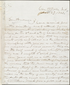 Letter from George Washington Julian, Centreville, Ind., to William Lloyd Garrison, Charles Calistus Burleigh, and Wendell Phillips, Nov[ember] 27, 1863