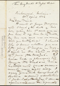 Letter from Henry Vincent, Richmond, Indiana, to William Lloyd Garrison, 20th April 1867