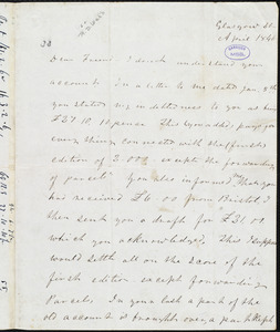 Letter from Frederick Douglass, Glasgow [Scotland], to Richard Davis Webb, 20, April 1846