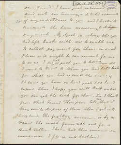 Letter from Frederick Douglass, Glasgow [Scotland], to Richard Davis Webb, [April 25, 1846]