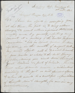 Letter from Frederick Douglass, Edinburgh [Scotland], to Samuel Hanson Cox, 20th Octr. 1846