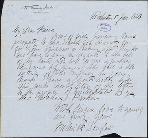 Letter from Frederick Douglass, Rochester [N.Y.], to Francis Jackson, 5 Jan, 1848