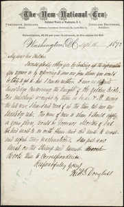 Letter from Frederick Douglass, Washington D.C., Sept. 16, 1872