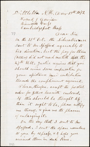 Letter from Edmund Carleton, Littleton, N.H., to Francis Jackson Garrison, Dec[embe]r 19th 1872