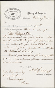Letter from Ainsworth Rand Spofford, Washington, [D.C], to Francis Jackson Garrison, Oct[ober] 17th, 1872
