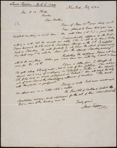 Letter from Lewis Tappan, New York, to Amos Augustus Phelps, 1844 July 6