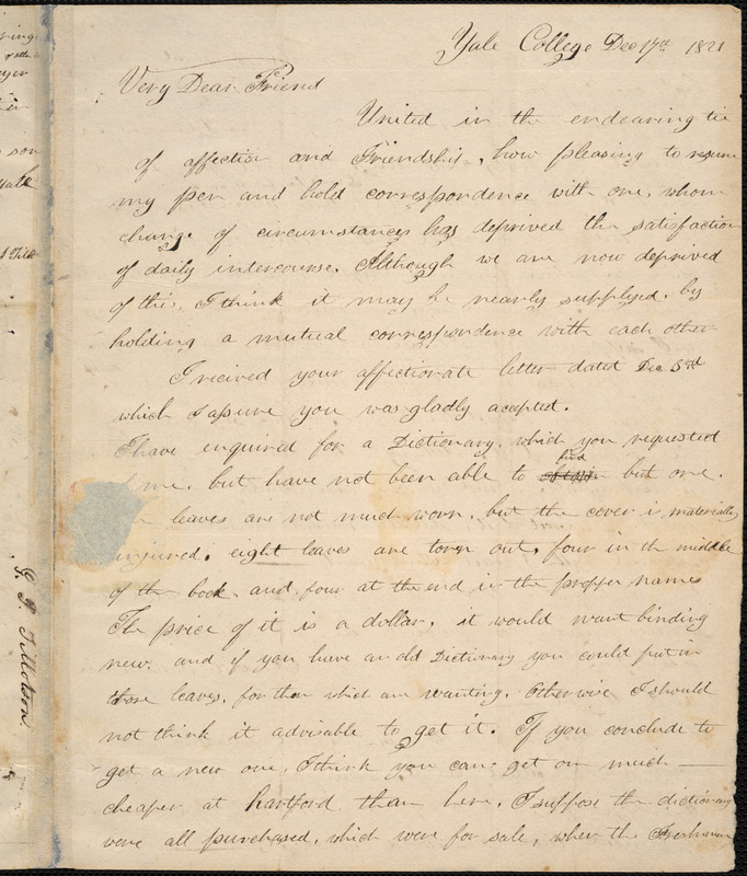 Letter from George Jeffrey Tillotson, [New Haven], to Amos Augustus Phelps, 1821 December 17