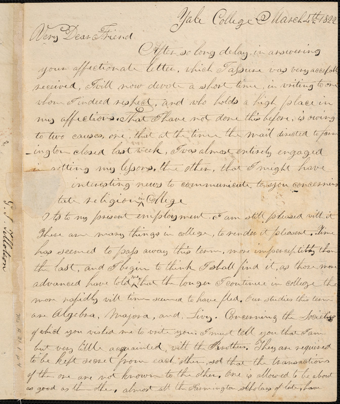 Letter from George Jeffrey Tillotson, [New Haven], to Amos Augustus Phelps, 1822 March 2