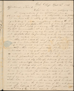 Letter from George Jeffrey Tillotson, [New Haven], to Amos Augustus Phelps, 1822 April 15