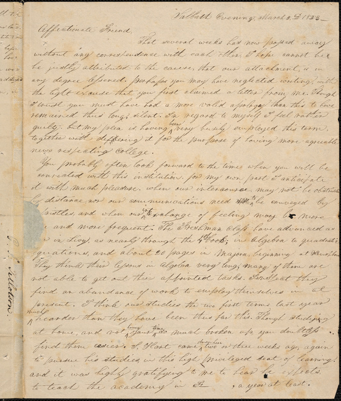 Letter from George Jeffrey Tillotson, [New Haven], to Amos Augustus Phelps, 1823 March 2