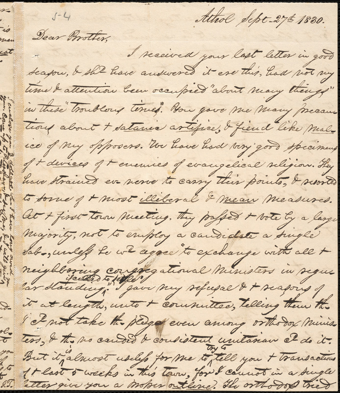 Letter from George Jeffrey Tillotson, Athol, [Mass.], to Amos Augustus Phelps, 1830 Sept[ember] 27th