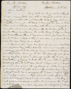 Letter from George Jeffrey Tillotson, Brooklyn, [Conn.], to Amos Augustus Phelps, 1841 Ap[ri]l 28th
