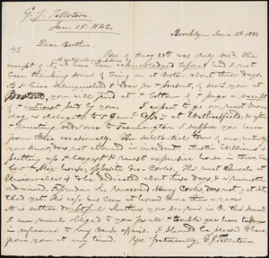 Letter from George Jeffrey Tillotson, Brooklyn, [Conn.], to Amos Augustus Phelps, 1842 June 15th