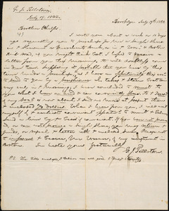 Letter from George Jeffrey Tillotson, Brooklyn, [Conn.], to Amos Augustus Phelps, 1842 July 19th
