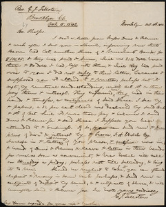 Letter from George Jeffrey Tillotson, Brooklyn, [Conn.], to Amos Augustus Phelps, 1842 Oct[ober] 18th