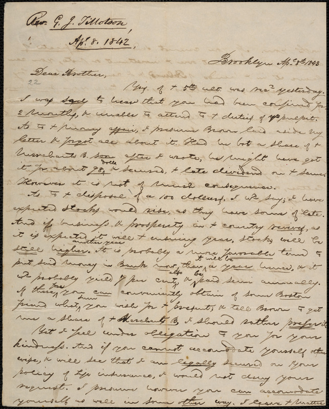 Letter from George Jeffrey Tillotson, Brooklyn, [Conn.], to Amos Augustus Phelps, 1843 Ap[ri]l 8th