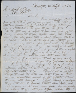 Letter from Hopeful Toler, Washington, [D.C.], to Amos Augustus Phelps, 1846 Aug[us]t 20