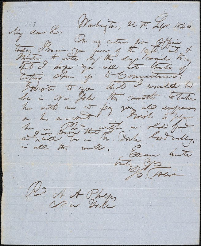 Letter from Hopeful Toler, Washington, [D.C.], to Amos Augustus Phelps, 1846 Sept[ember] 21st