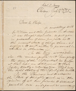 Letter from Charles Turner Torrey, Chelsea, [Mass.], to Amos Augustus Phelps, [18]35 July 2nd