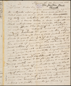 Letter from Jonathan Ward, Plymouth, [Mass.], to Amos Augustus Phelps, 1838 June 22