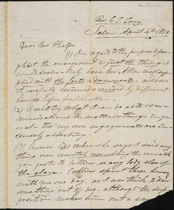 Letter from Charles Turner Torrey, Salem, [Mass.], to Amos Augustus Phelps, 1839 April 4th