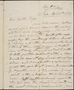 Letter from Charles Turner Torrey, Salem, [Mass.], to Amos Augustus Phelps, 1839 April 6th
