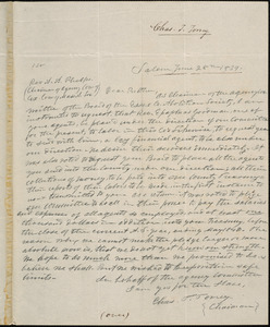 Letter from Charles Turner Torrey, Salem, [Mass.], to Amos Augustus Phelps, 1839 June 28th
