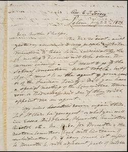 Letter from Charles Turner Torrey, Salem, [Mass.], to Amos Augustus Phelps, 1839 July 22nd