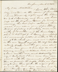 Letter from Increase S. Smith, Hingham, [Mass.], to Caroline Weston, March 11, 1842
