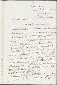 Letter from Richard Robert Madden, London, 40 Sloane Square, Chelsea, to Maria Weston Chapman, 27 Aug't 1842