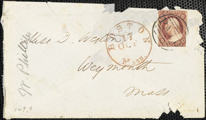 Letter from Wendell Phillips, [Boston, MA], to Deborah Weston, Friday, [Oct. 16, 1857?]