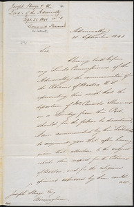 Letter from Great Britain Admiralty, to Amos Augustus Phelps, 21 September 1841