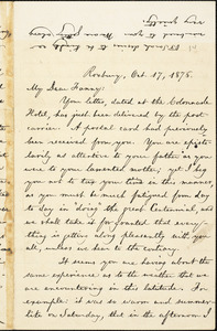 Letter from William Lloyd Garrison, Roxbury, [Mass.], to Fanny Garrison Villard, Oct. 17, 1876