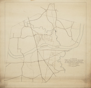 A map of the old town roads in the limits of Lawrence and their relation to present streets