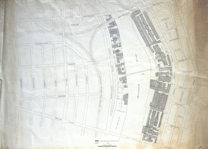 Map of mills along the Merrimack River between Broadway and Union Streets