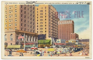 View from beach, showing Chelsea, Ambassador, Ritz Carlton Hotels, Atlantic City, N. J.
