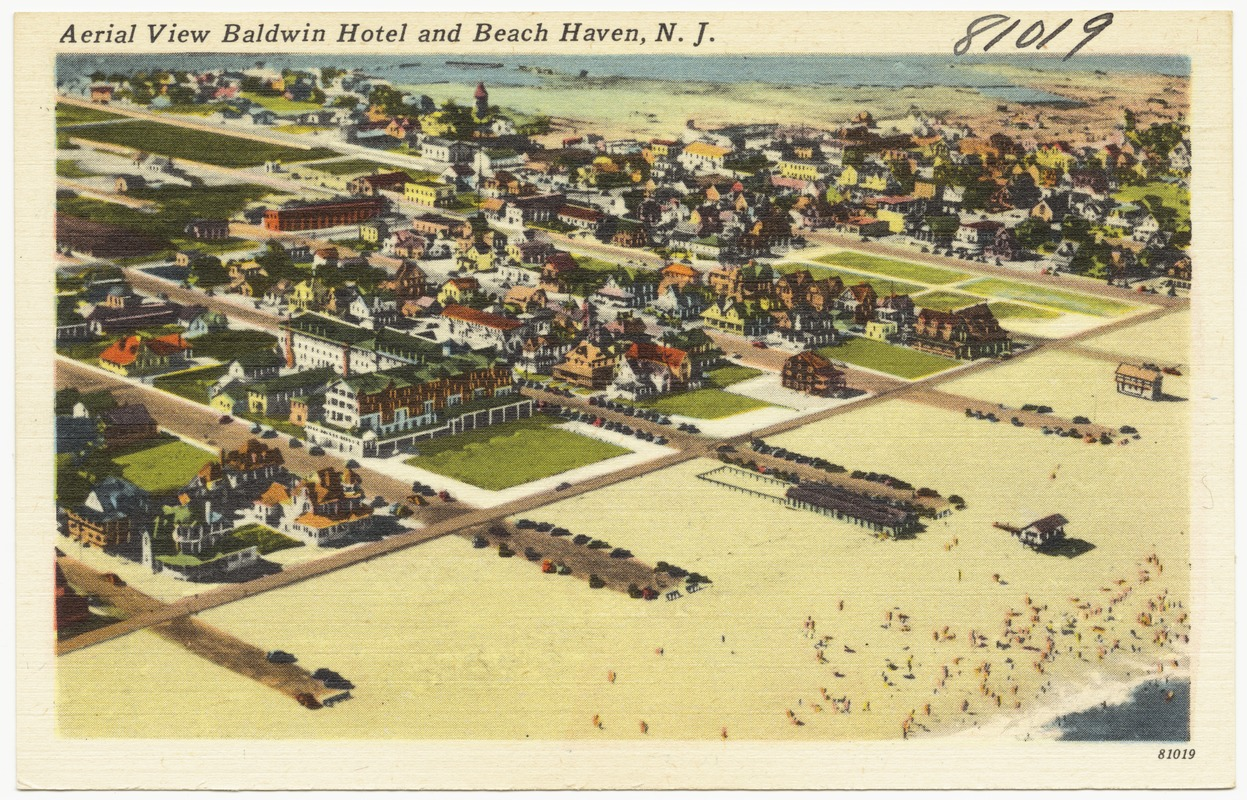 Aerial view of Baldwin Hotel and Beach Haven, N. J.