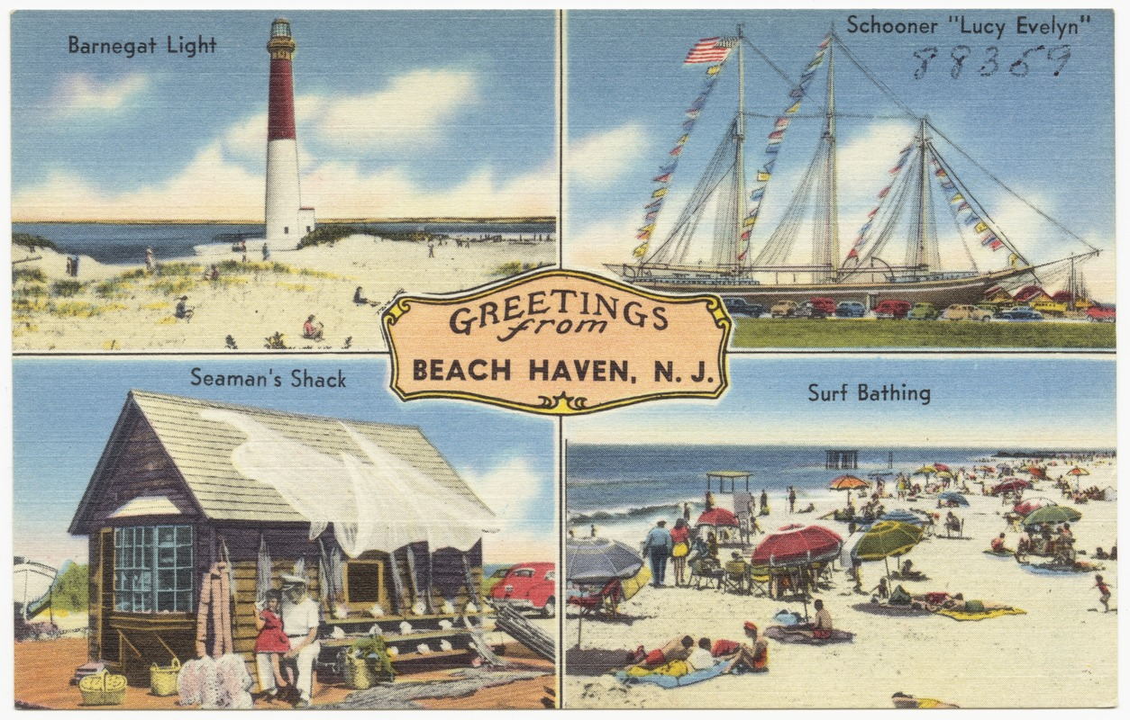 Greetings From Beach Haven N J Barnegat Light Schooner Lucy Evelyn Seaman S Shack Surf Bathing