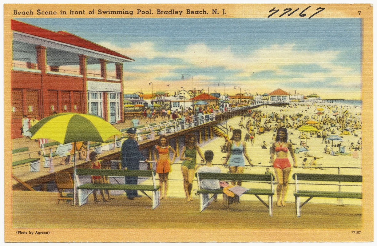 Beach Scene In Front Of Swimming Pool Bradley N J