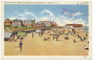 Bathing beach, front of Windsor and Congress Hall, Cape May, N. J.