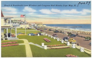 Beach & boardwalk from Windsor and Congress Hall Hotels, Cape May, N. J.