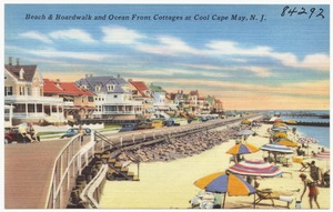 Beach & boardwalk and ocean front cottages at cool Cape May, N. J.