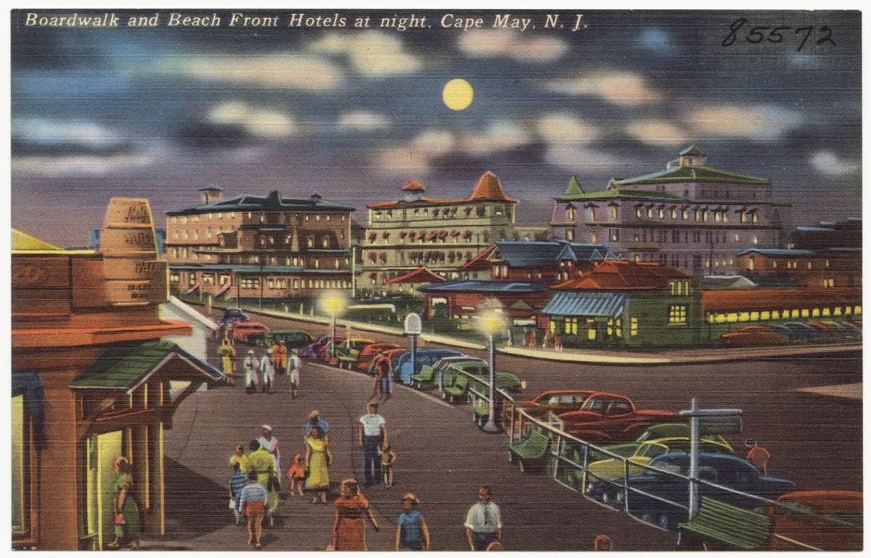 Boardwalk and beach front hotels at night, Cape May, N. J.
