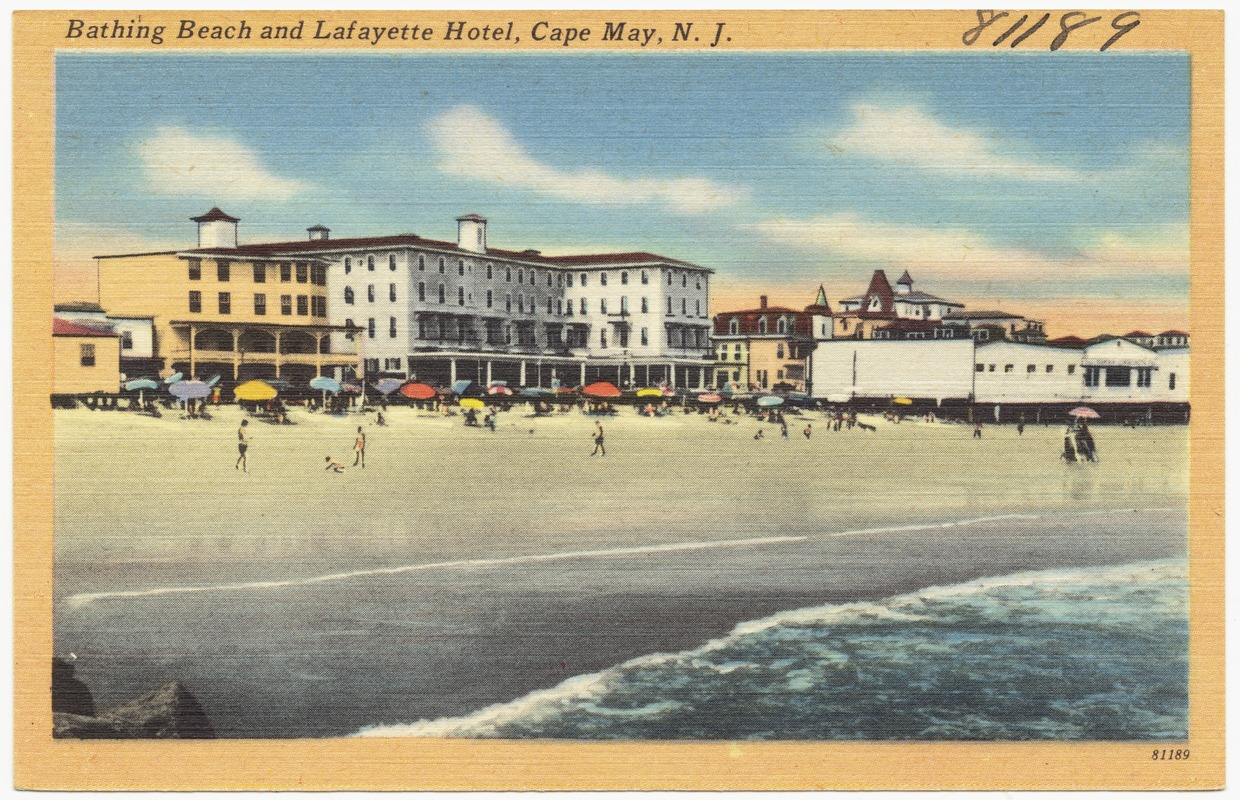 Bathing beach and Lafayette Hotel, Cape May, N. J.