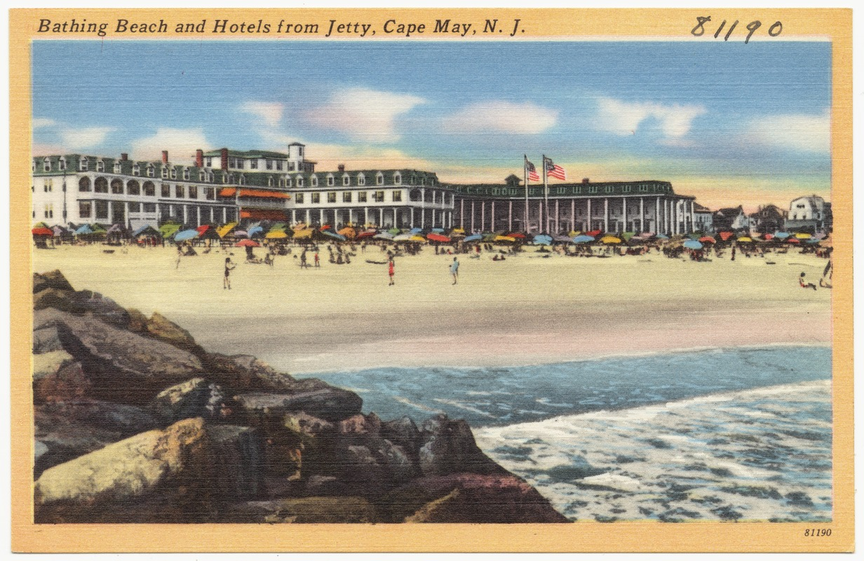 Bathing beach and hotels from jetty, Cape May, N. J.