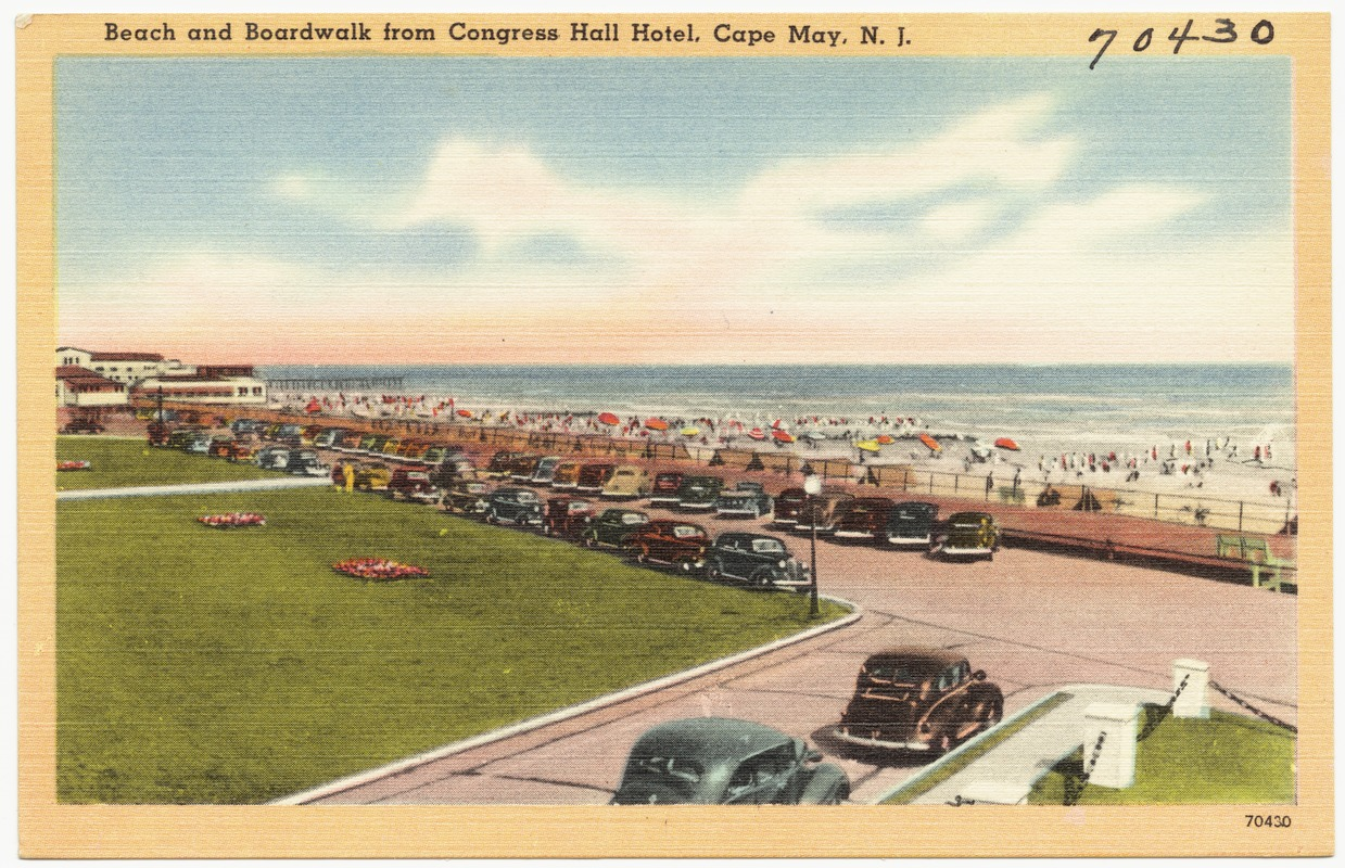 Beach and boardwalk from Congress Hall Hotel, Cape May, N. J.