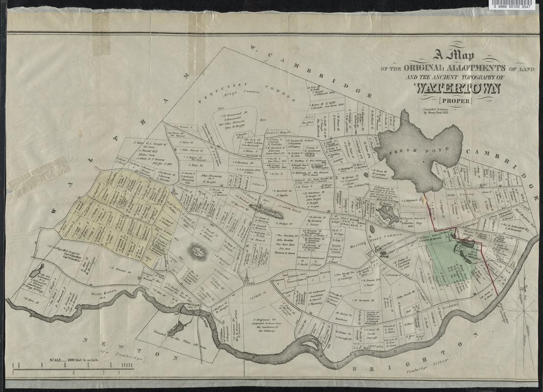 A map of the original allotments of land and the ancient topography of Watertown proper