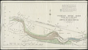 Charles River Basin contour map of upper basin